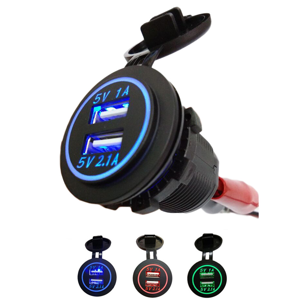 Waterproof USB Car Charger 12V-24V Universal Dual USB Auto Car Cigarette Lighter LED Digital Display Charging Socket Plug