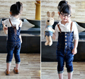 2015 new style children denim overalls fashion baby girl's cowboy pants autumn kids trousers jeans Wholesale And Retai