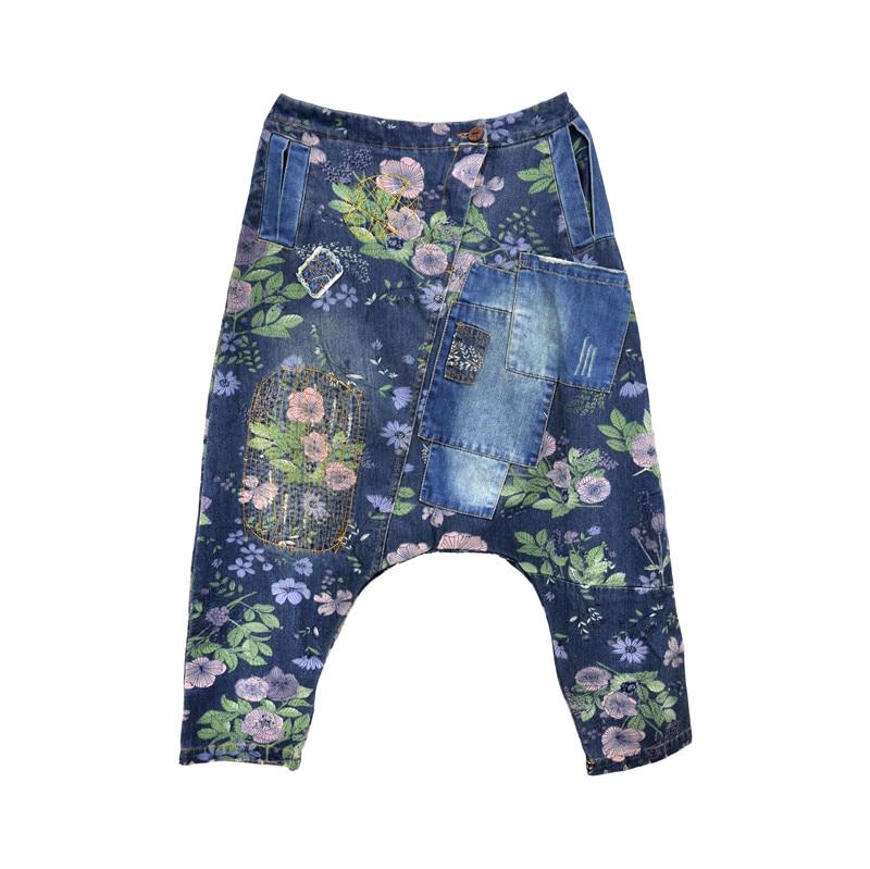 Women Hip-hop Drop Crotch Harem Pants  Fashion Casual Elastic Waist Baggy Denim Pants Boyfriend Printed Flower Jeans Trousers