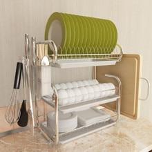 3 Tiers Dish Drying Rack Storage Shelf Kitchen Washing Holder Basket Plated Iron Knife Sink Dish Drainer Drying Rack Organizer