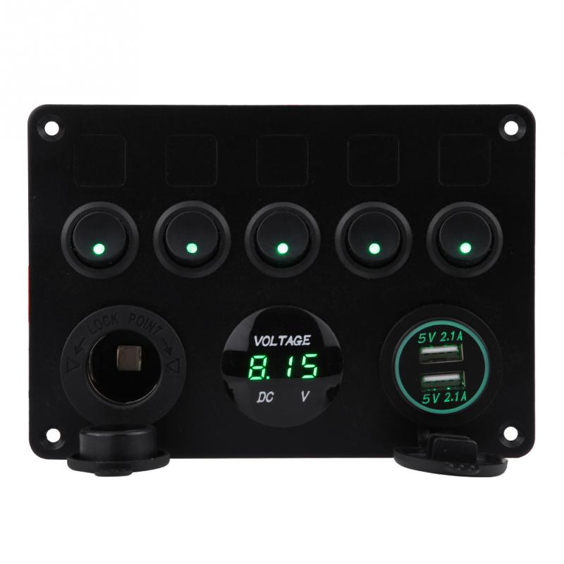 12 24V 5 Gang OnOff Toggle Switch Panel Dual USB Charger Voltmeter for Car Boat Marine Truck Car Accessories Red Green