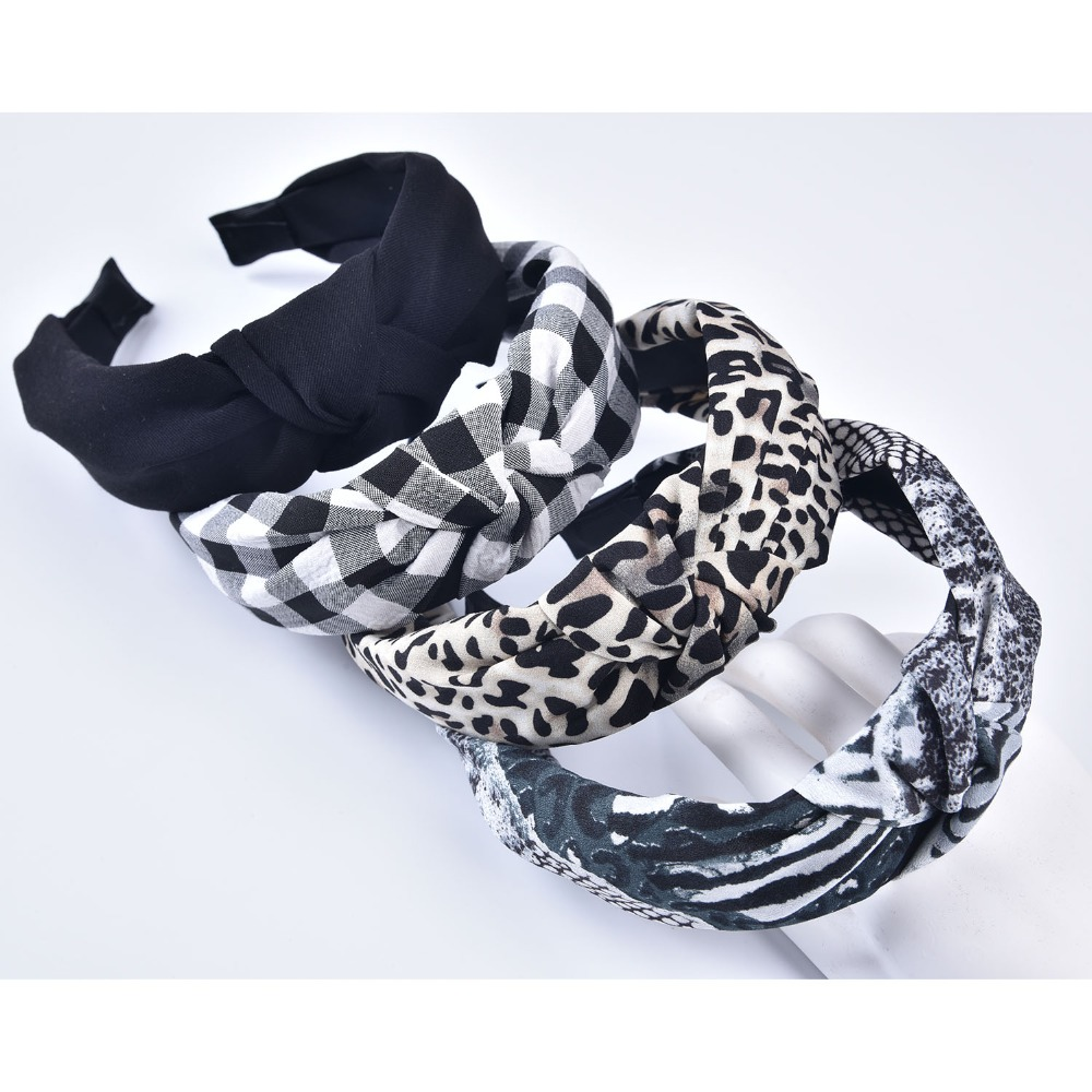 Cute Turbans Headband Leopard Print Top Knot Headband Handmade Animal Print Headband Snakeskin Checked Hair Band For Women