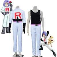 Hot Popular Exclusive COS Pokemon Team Rocket James Cosplay Costume Pocket Game Sexy Unisex Suit Halloween