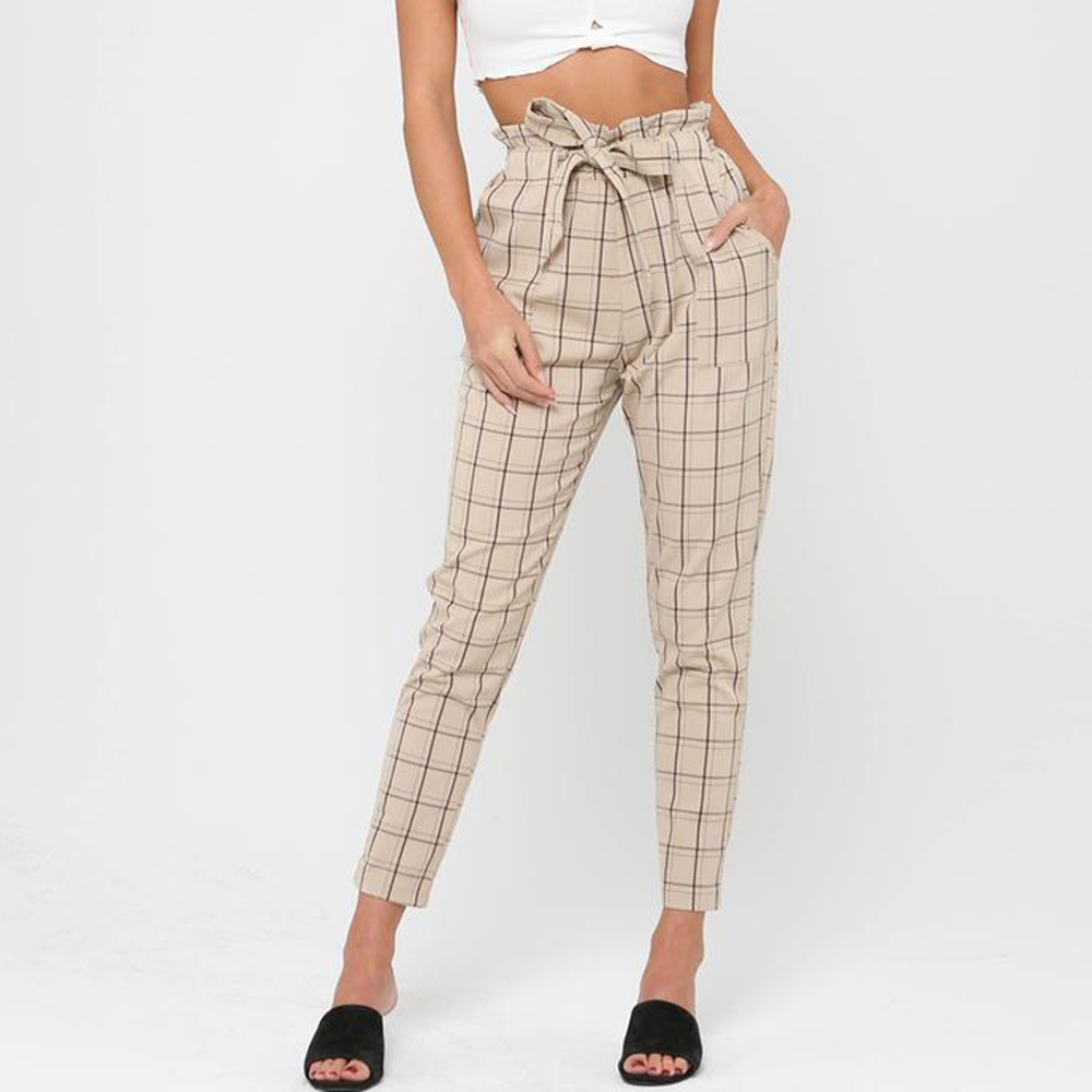 Dower Me High Waist Self Belted Pencil   Pants   Pockets Casual OL Lady Ankle -length   Capris   Trousers Women Clothing Plaid   Pants