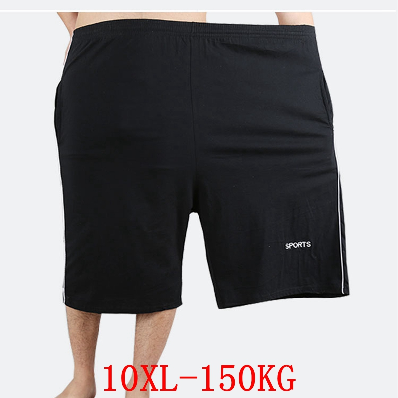 Men's Big Shorts Plus Size 8XL 9XL 10XL Summer Cotton Large Stretch Sports Casual Loose Large Size 50 Black Shorts