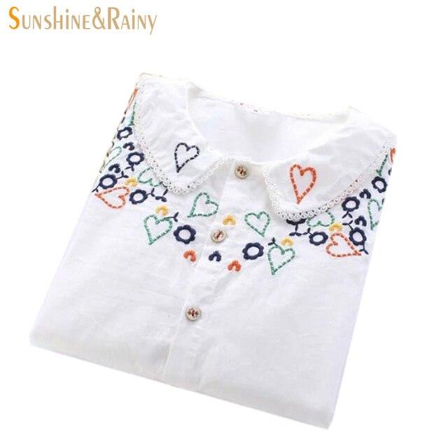 Высокое качество 2016 весной новые поступления персик форме сердца любовь вышивка рубашка женщины Питер Пэн Воротник дамы офис белый блузка