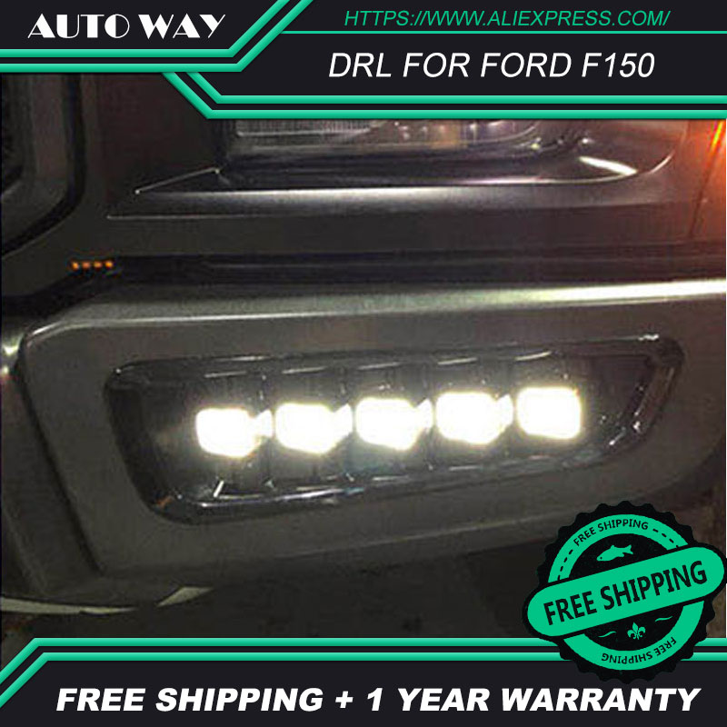 Бесплатная доставка! 12V 6000k светодиодный DRL дневный ходовой светильник чехол для Ford Raptor F150 2017 2018 противотуманная фара рамка противотуманный