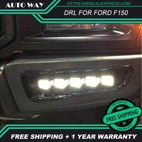 Free shipping ! 12V 6000k LED DRL Daytime running light case for Ford Raptor F150 2017 2018 fog lamp frame Fog light Car styling