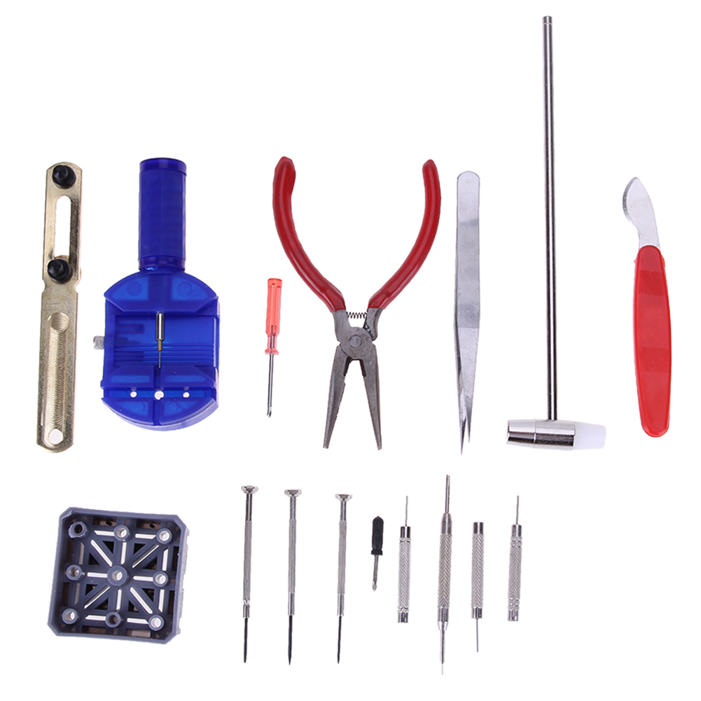 Professional 16Pcs Watchmaker Watch Tools Watch Opener Band Pin Strap Link Clock Watch Repair Tool Kit Screwdriver precision notching pliers leather watch strap band notch belt watchmaker repair tools