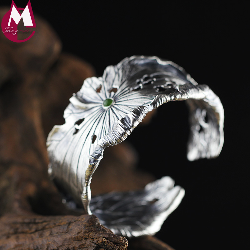 Handmade Lotus Leaves Bracelet For Women Hyperbole Hollow Lotus Seedpod Leaf Jasper Bangle Real 990 Sterling Silver Jewelry SB56 chic faux crystal leaf hollow out bracelet for women