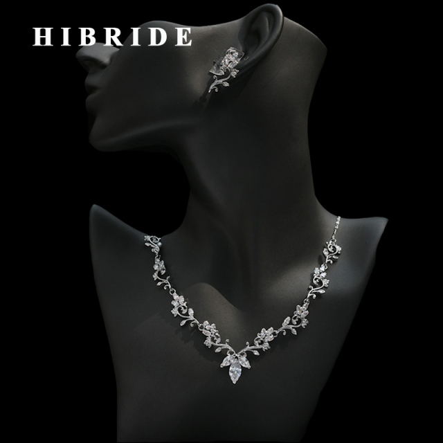 HIBRIDE Beautiful Flower Austrian Crystal Cubic Zircon Necklace Sets
