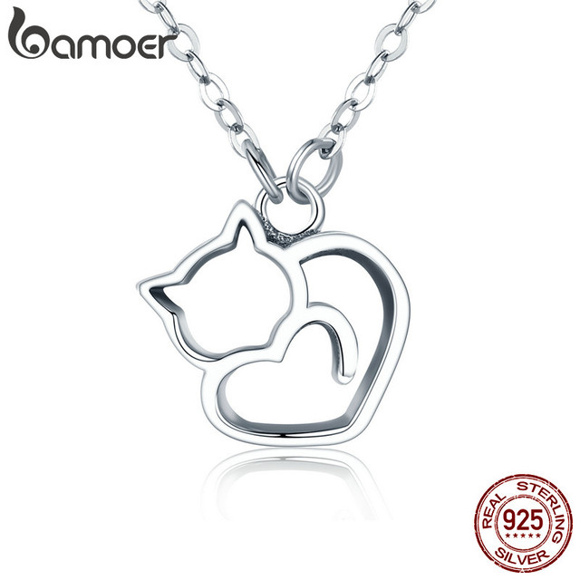 BAMOER Authentic 100% 925 Sterling Silver Lovely Cat Exquisite Women Pendant Nec