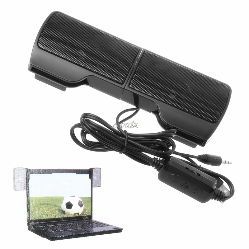 1 Pair Mini Portable Clip-on USB Stereo Speakers line Controller Soundbar for Laptop Notebook Mp3 PC Computer with Clip