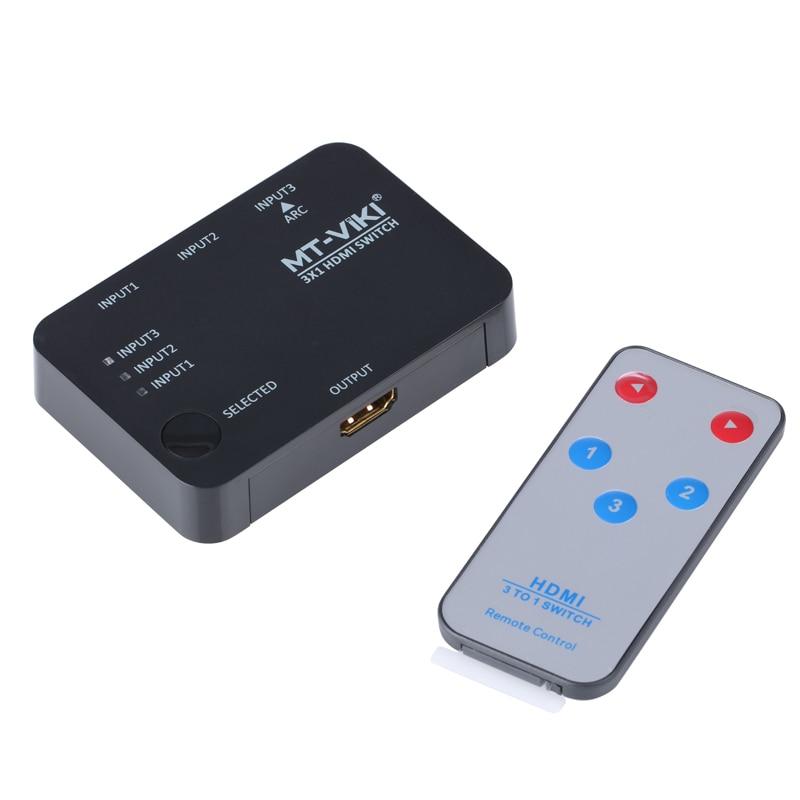 MT VIKI 3x1 4K HDMI Switch Selector 3 input 1 output Switcher support 3D IR Remote Controller 4K*2K USB Power MT SW301SR
