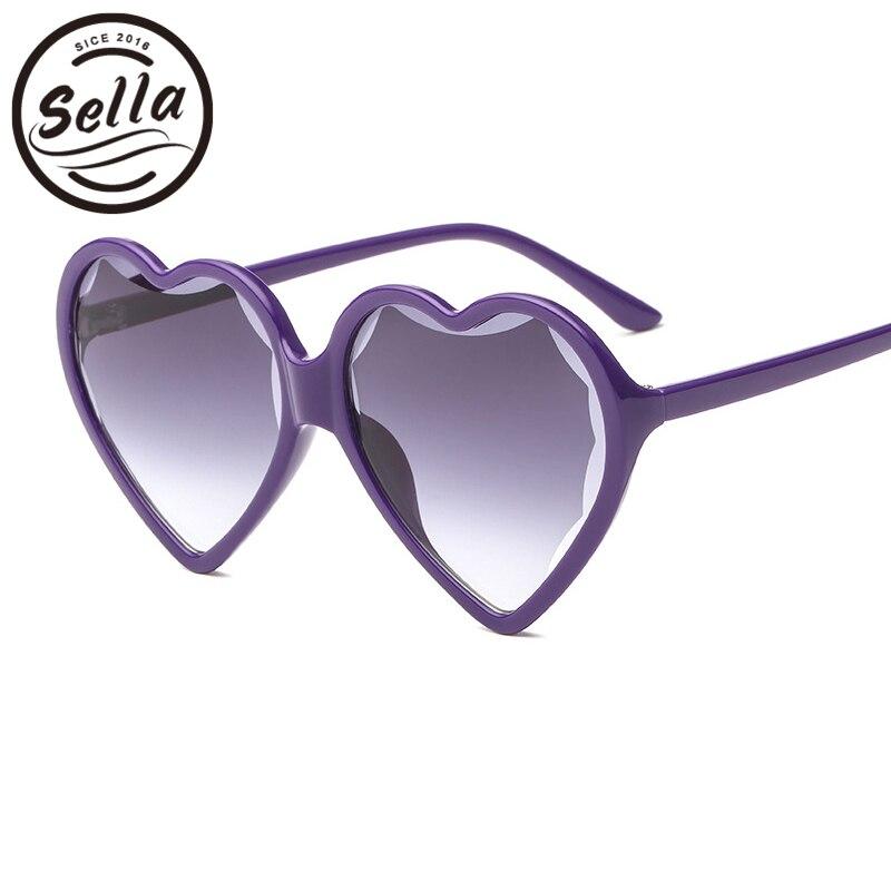 Sella 2018 New Fashion Women Unique Heart Shape Sunglasses Brand Designer Trending Ladies Oversized Summer Colorful Sun Glasses