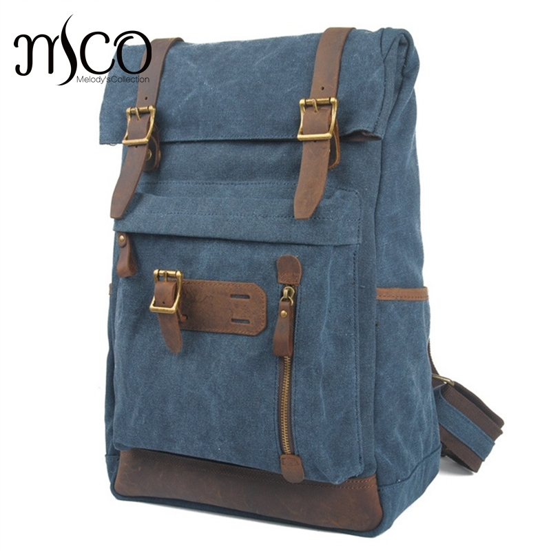 Men Military backpack Youth Travel Bags Large Capacity Schoolbag Vintage Rucksack High Quality Casual Canvas Laptop Backpack Bag men s leather canvas backpack youth large capacity vintage military backpack travel bags fashion casual women laptop school bags