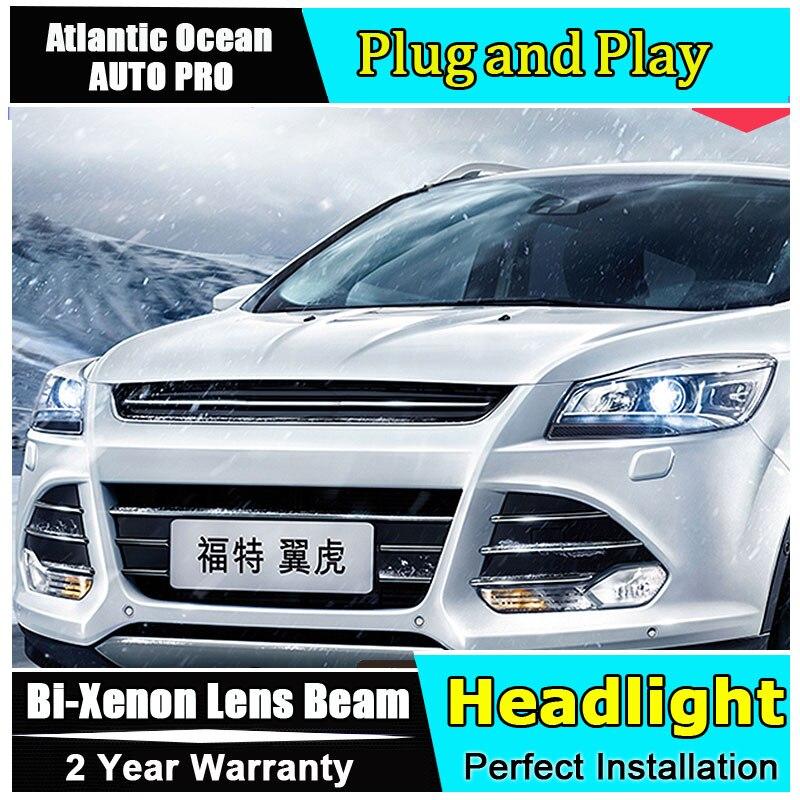 Nouvelle lampe frontale style de voiture Pour Ford KUGA phares 2013-2016 Pour Ford Escape Bi-xenon tête lampe À Double lentille kit hid led drl