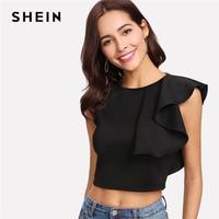 SHEIN Sexy Black Ruffle Crop Tank Top Women New Clothing Round Neck Zipper Plain Top Vest