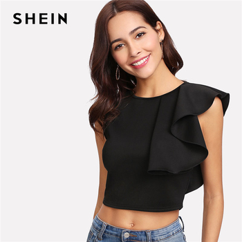 SHEIN Sexy Black Ruffle Crop Tank Top Women New Clothing Round Neck Zipper Plain Top Vest 2018 Summer Slim Party Vest Top