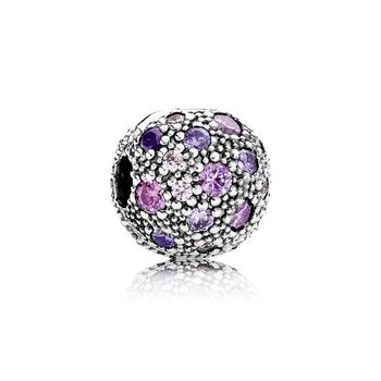 COSEN PAN 1:1 Original Sterling Silver 925 Charm Cosmic Stars Clip, Violet & Pink CZ Jewelry for Women Gift 791286CFPMX