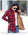 2017 Autumn Winter Ladies Female Casual Plus Thick Velvet Warm Long Sleeve Shirt Women Blouse Plaid Shirts Women Tops Blusas