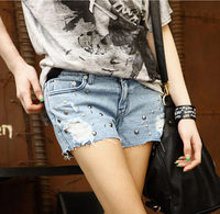 European And American BF Summer Female Blue Rivet Low Waist Denim Shorts Women Worn Loose Hole