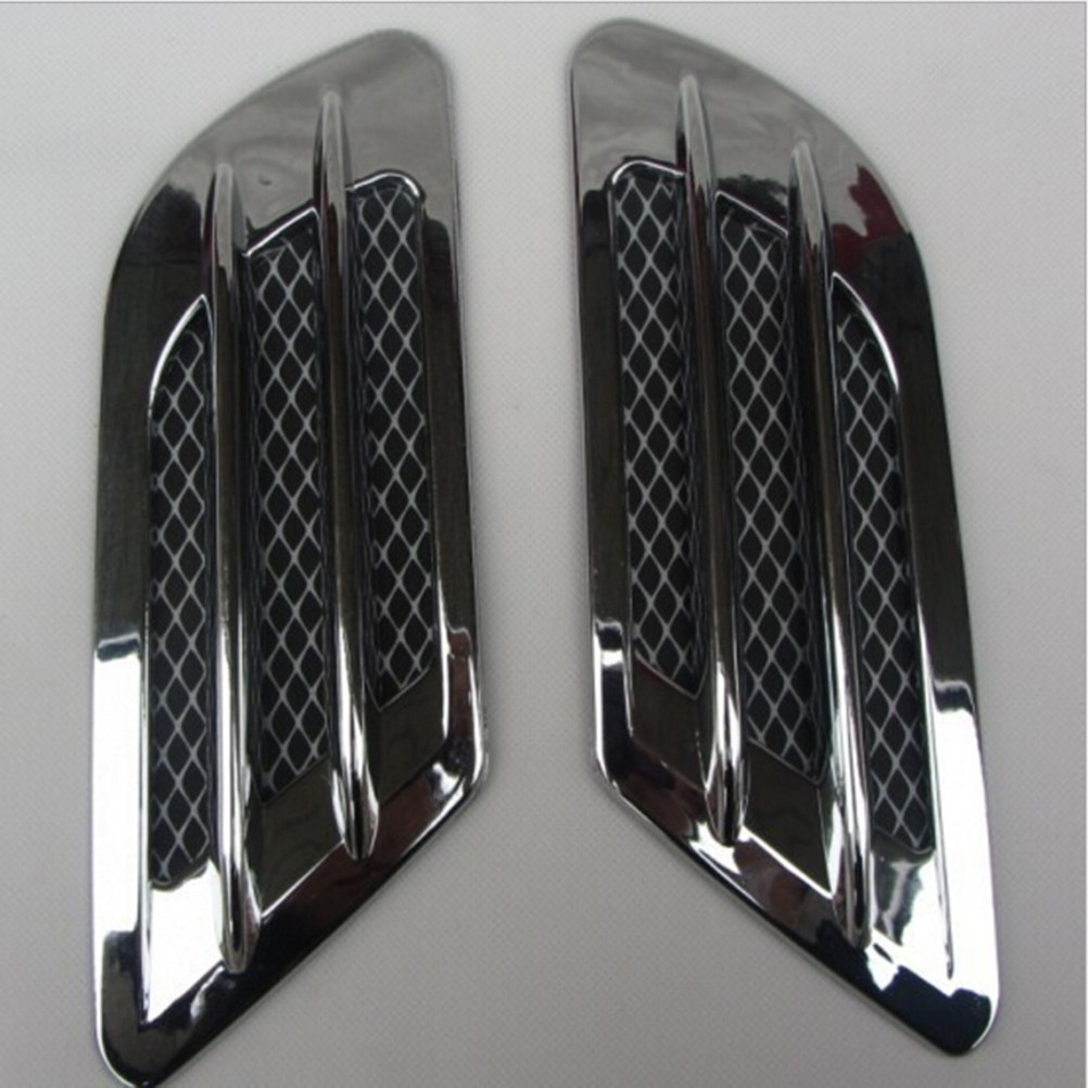 Car Side Air Flow Vent Hole Cover Fender Intake Grille Duct Decor Sticker Black
