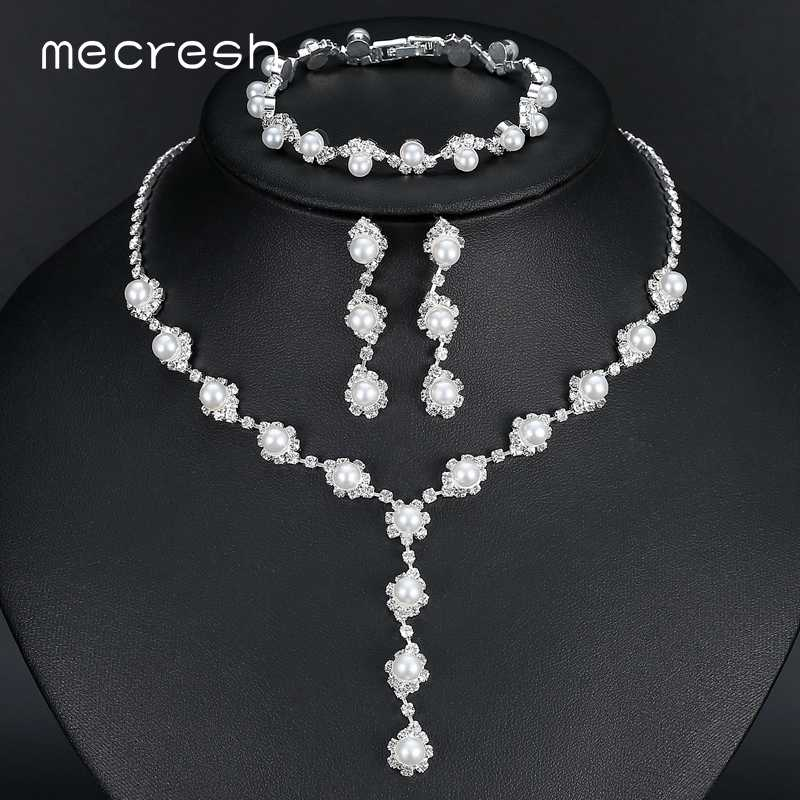 Mecresh Simulated Pearl Bride Wedding Jewelry Sets Simple Crystal Bridal Necklace Earrings Bracelets Sets for Women TL059+SL077
