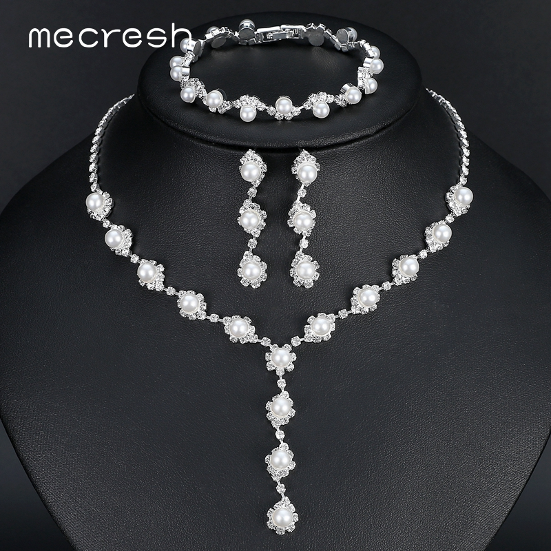 Mecresh Simulasi Pearl Bride Wedding Jewelry Set Sederhana Kristal - Perhiasan fashion