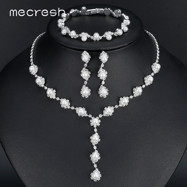 Mecresh Simulated Pearl Bride Wedding Jewelry Sets Simple Crystal Necklace Earrings Bracelets Women Party Gift