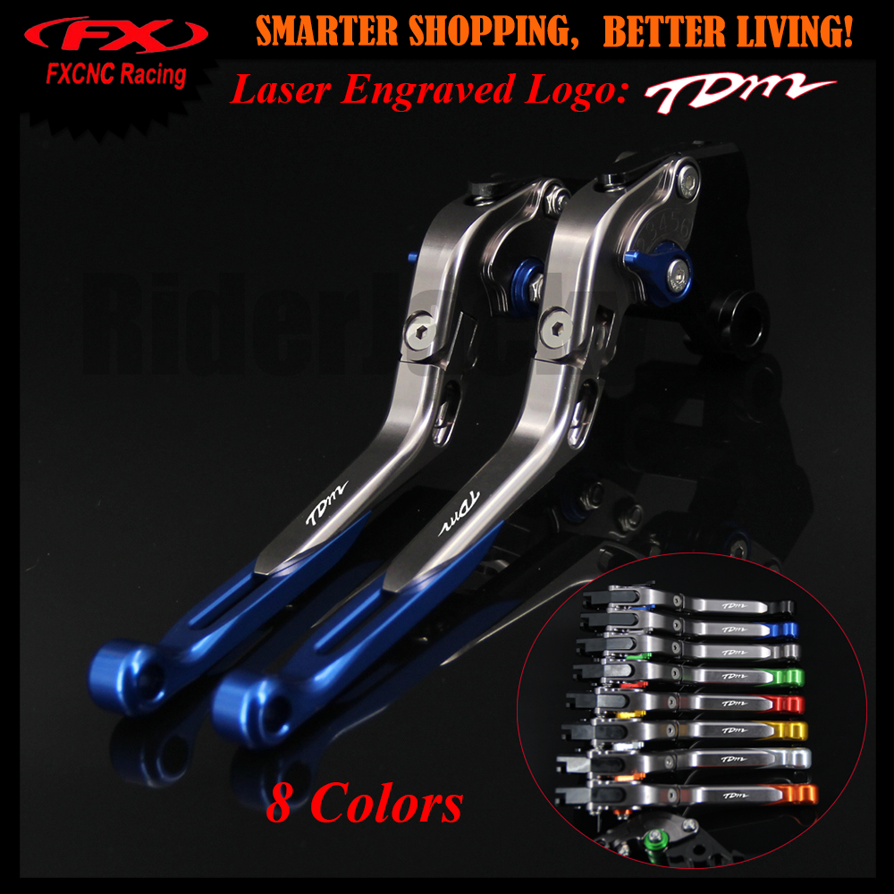 8 Colors Blue+Titanium CNC Motorcycle Adjustable Brake Clutch Lever For Yamaha TDM 900 TDM900 2002 2003 2004 With New Logo mfs motor motorcycle part front rear brake discs rotor for yamaha yzf r6 2003 2004 2005 yzfr6 03 04 05 gold