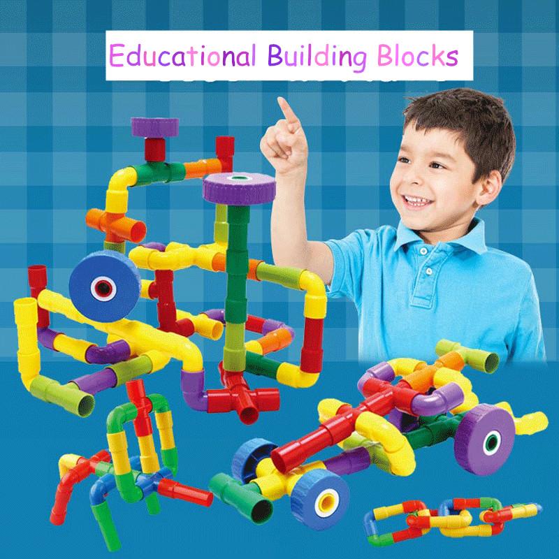 Colorful Water Pipe Building Blocks for Child Kid DIY Tunnel Block Model Toy New