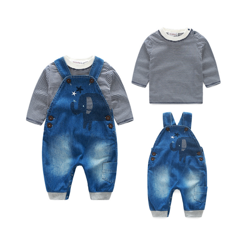 Spring 0-24m newborn elephant baby boy clothes 2pcs baby boy set casual longsleeves striped t-shirt+denim bib pants 2pcs set baby clothes set boy