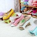 Мода Пластиковой Обуви Стойки Экономия Пространства Обуви Шкаф Обувь хранения Стойки Краткое Полка для Обуви Розовый Синий Коричневый Зеленый белый