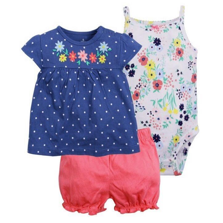 3 Pieces Cotton Girls Clothing Newborn Baby Girl Set Summer Infant Baby Short Sleeve Cartoon Sets Floral dress+bodysuit+pants