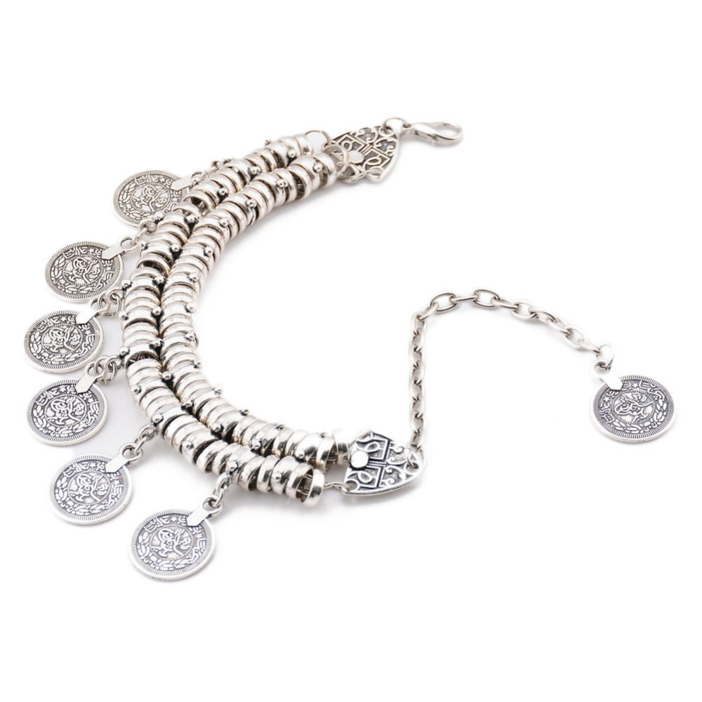 Anklets Anklet Drop Shipping Can Be Repeatedly Remolded. Jewelry & Accessories 2017 Fashion Bohemian Short Bi-retro-style Carved Coin Woman Bracelet