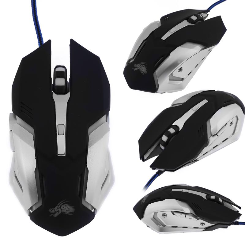 Wired Gaming Mouse 6 Buttons 2400DPI Ajustable Optical Mouse Colorful LED Light Computer Mouse Mice For PC Desktop Laptop