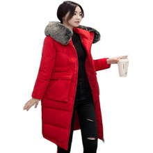 New Long Winter Jackets for Women 3XL Female Parka Luxury Brand Collar Cotton Padded Faux Fur Quilted Coat female Wadded Jackets