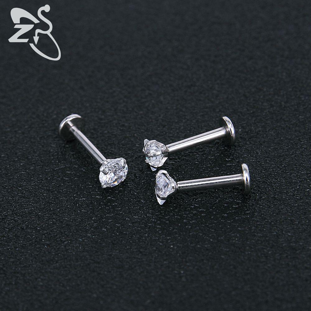 Stainless Steel Earring Studs Screw Earrings Girls Cubic Zirconia Cartilage Piercing Lip Studs Star Mini Earring Woman Jewellery 9