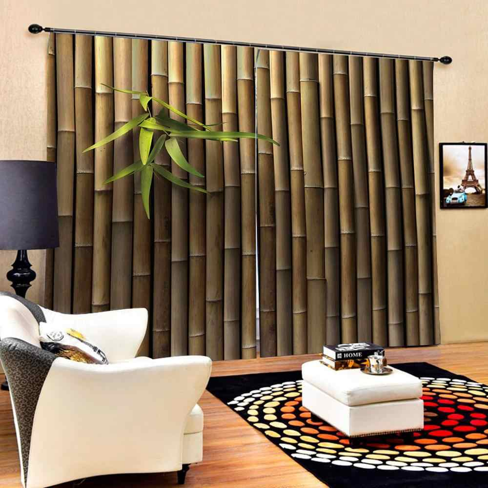 3D Curtain Luxury Blackout Window Curtain Living Room brown bamboo curtains Blackout curtain