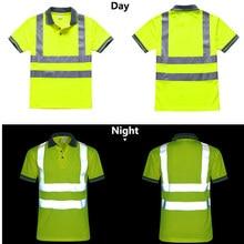 ليلة العمل عاكس قميص أمان الملابس التجفيف السريع قصيرة الأكمام تي شيرت ملابس واقية لأعمال البناء