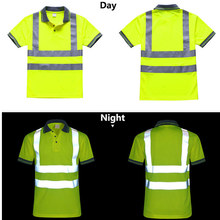Night Work Reflective Safety Shirt Clothing Quick drying Short sleeved T shirt Protective Clothes for Construction Workwear