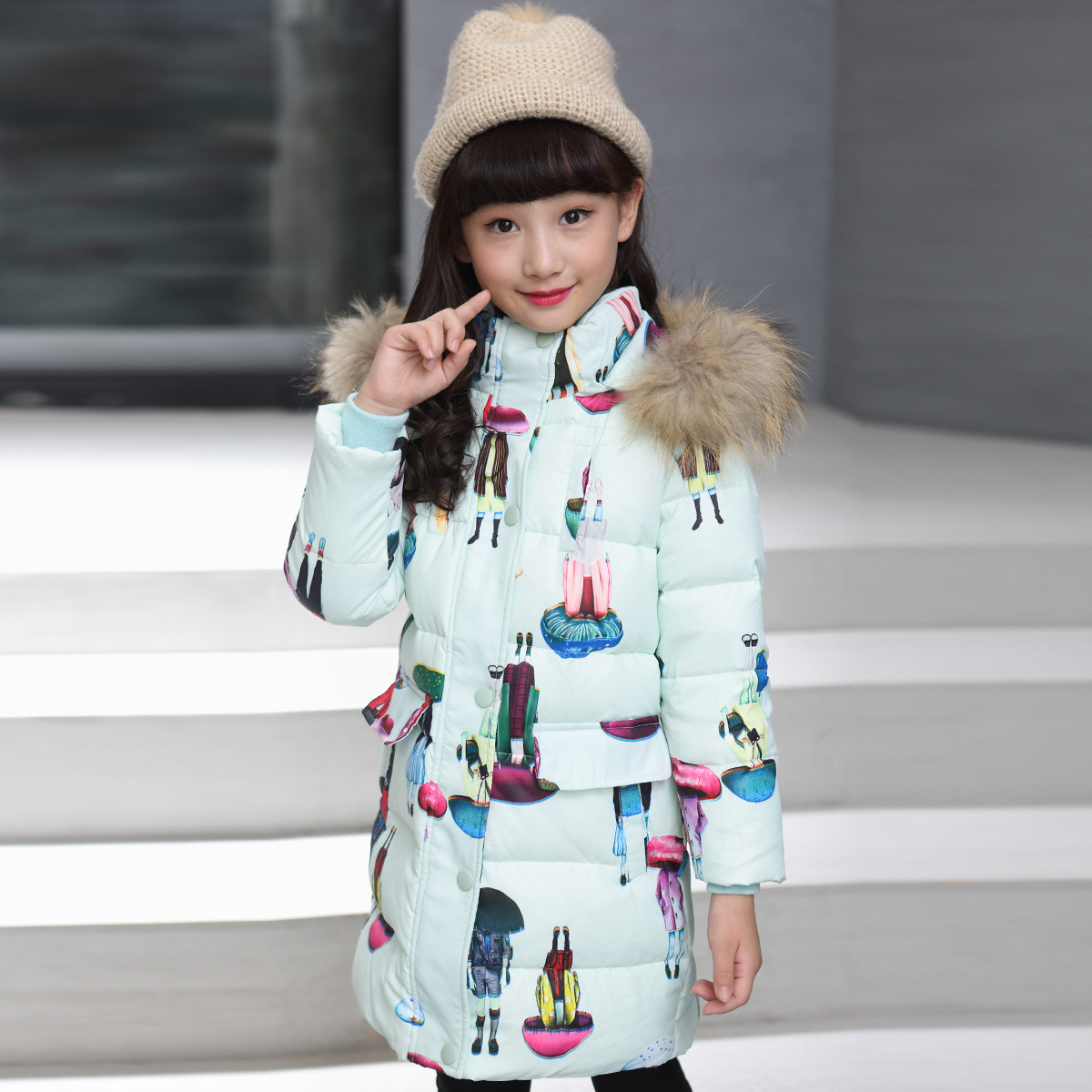 Down Jacket Children's Clothing White Duck Down New Year A Lively Girl Dressed Down Jacket In Park Happy To Play White Duck new year clothing white duck down jacket thin down jacket girls teenagers down jacket children winter filling down jacket boy