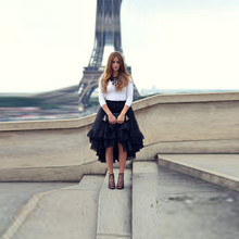 Ruffles High Low Skirt Tee Length Asymmetrical Skirt Black Tulle Skirt Trendy Street Style Tiered Midi Skirt for Women