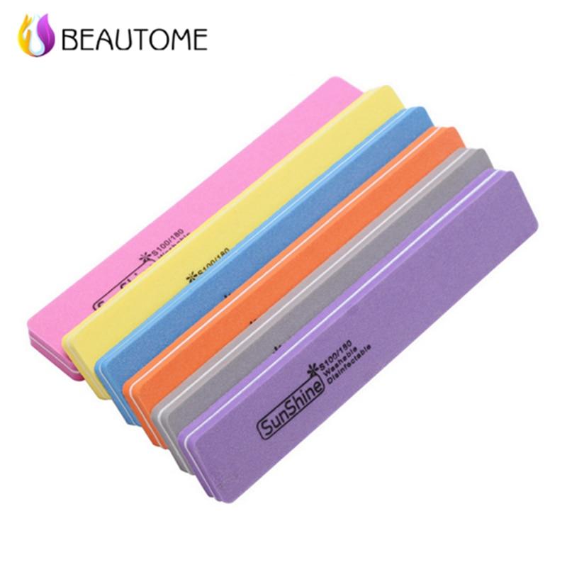 5pcs/lot Mix Color Square Sunshine Nail File Buffer Sponge Diamond Nail File Washable 100/180 Nail Buffer File For Finger Polish