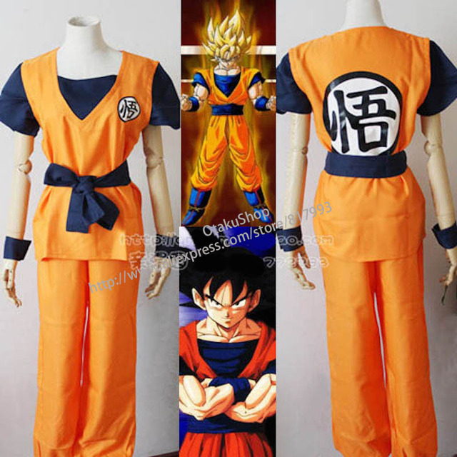 ac2f2df43cc Dragon Ball Z Goku full set Suit Wigs Kakarot cosplay costume boys children  dress mens clothing shirts+trousers+belt+wrist bands