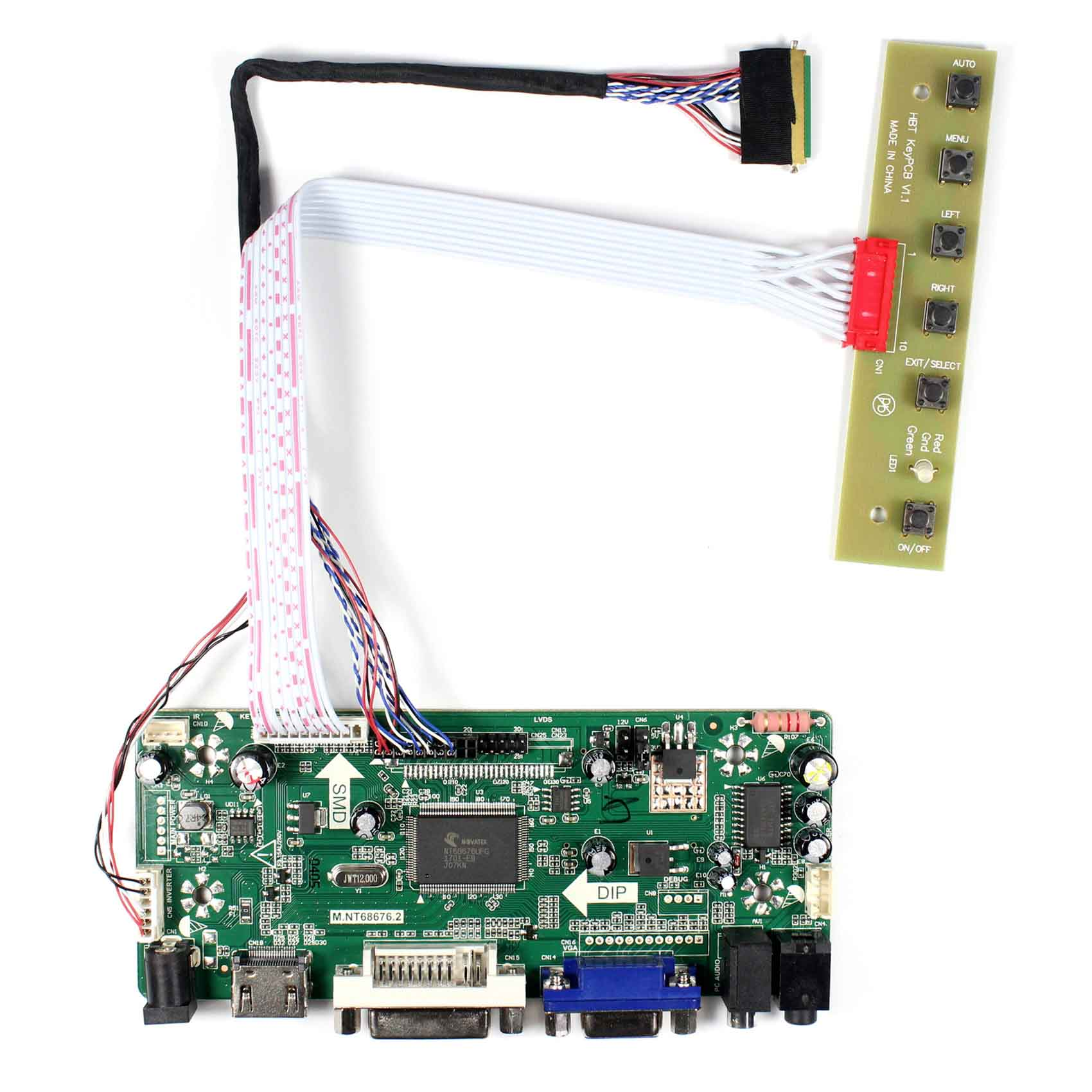 HDMI+DVI+VGA+Audio LCD Controller Board M.NT68676 Work For 14inch 1366X768 LTN140AT02 HSD141PHW1 B140XW01 LCD