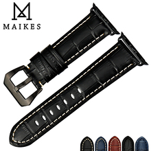 MAIKES Genuine Leather Watch Strap Replacement For Apple Watch Band 44mm 40mm 42mm 38mm Series 4 3 2 1 All Models iWatch retro vintage genuine leather iwatch strap replacement for apple watch 42mm series 3 2 1 sport and edition iwatch band 38mm