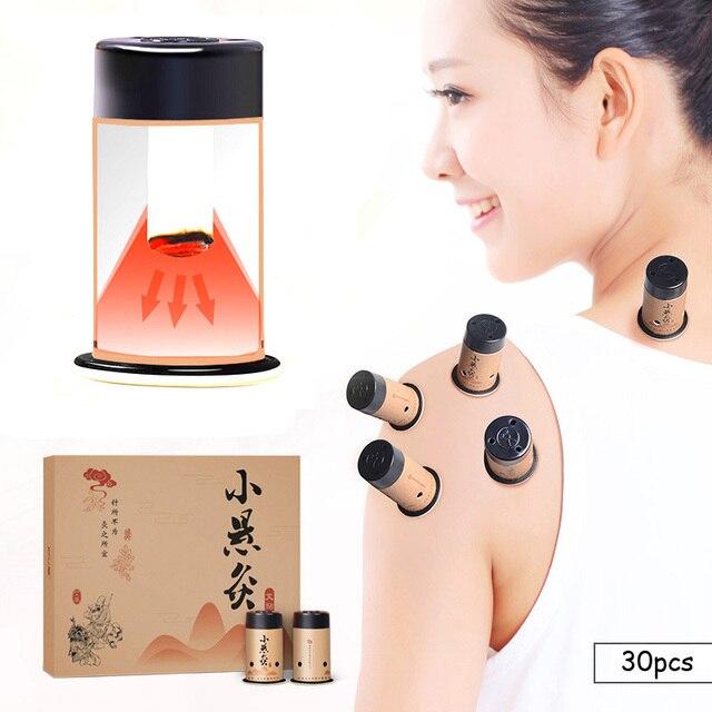 TEILEN HO 30 stücke Mini Moxa Aufkleber Moxibustion Rollen Heizung Therapie Traditionelle Chinesische Moxa Brenner Warm Meridian Acupuntura