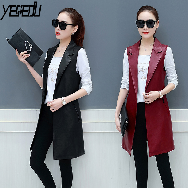#0712 Spring Faux Leather Blazer Vest Womens Long Slim Fit Waistcoat Plus Size 3XL PU Sleeveless Jacket Suit Vest Woman Elegant